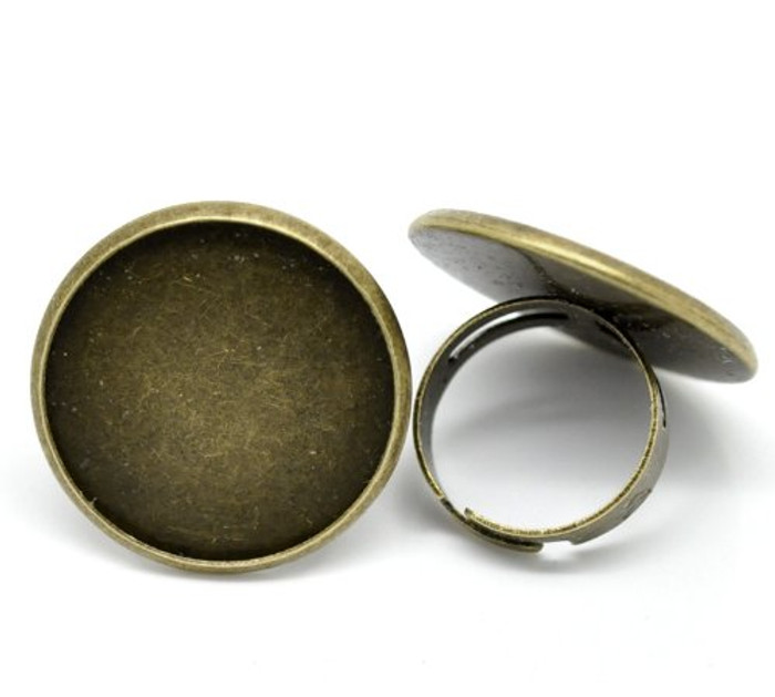 Antiqued Brass/gold Plated 24mm Bezel Cup Ring Settings Adjustable Us 6 75 or Larger Sold Per 10