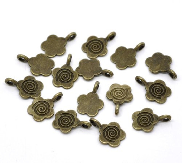 100 Flower Glue on Bail 11mm Antiqued Brass/gold Plated 11x15mm