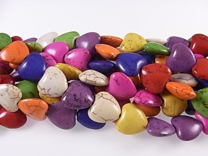 """12mm Heart Chalk Turquoise Dyed Mix  Beads 30"""""""