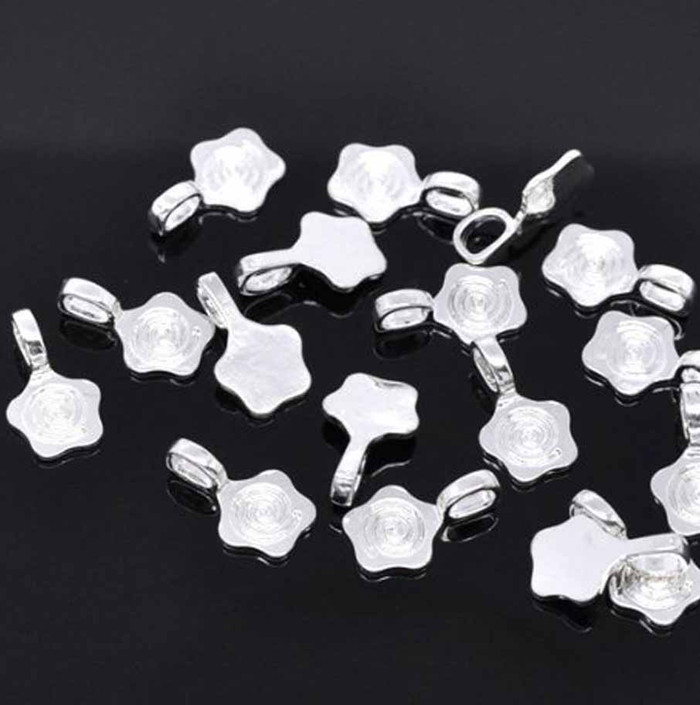 30 Glue on Bails 11mm Flower Pendant Hanger Shiny Silver Plated 18x11mm