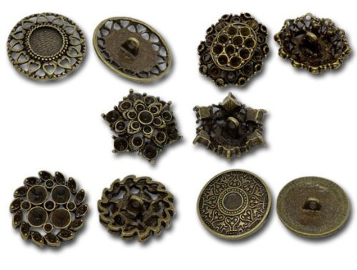 Mixed Antique Brass Fillagree Sewing Metal Buttons 1 to 1-1/4 Inch 23-28mm, Sold Per Pack of 50