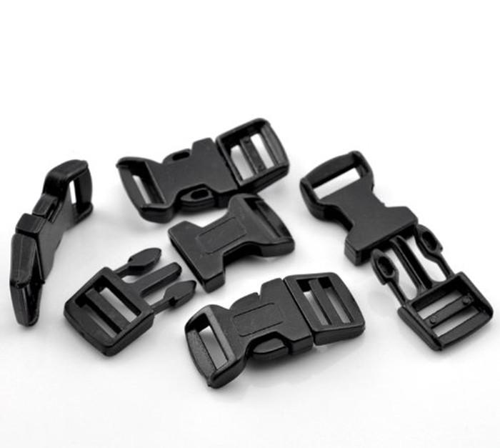 """50 Sets Black for 550 Para Cord Survival Bracelet Plastic Buckle 1 6/8x7/8"""""""
