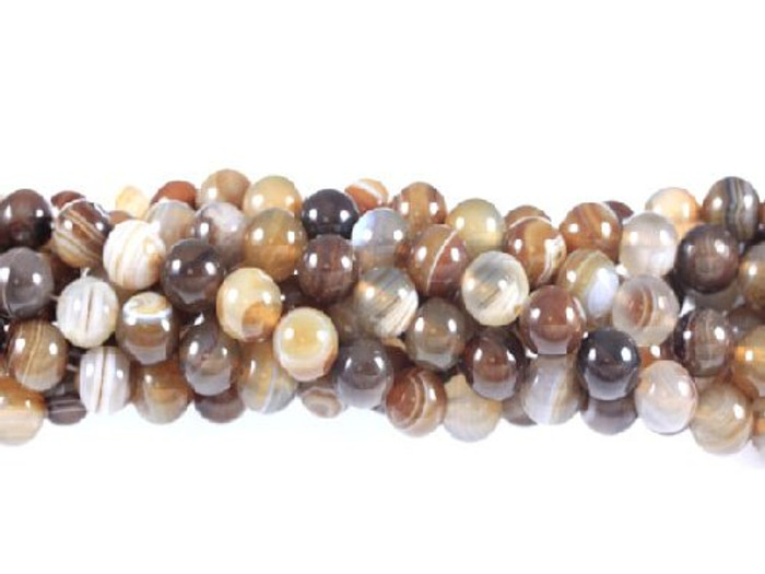 """12mm Brown Striped Agate  Round Beads 40cm 15""""  Stone"""
