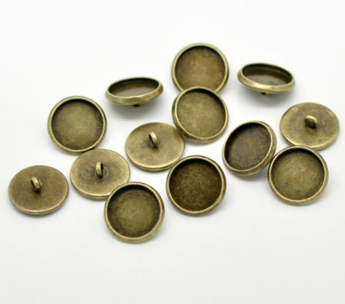 50 Antiqued Brass Plated Cabochon Setting Bezel Cup Buttons 14mm Outside (12mm Inside Cup), Sold Per Pack of 50