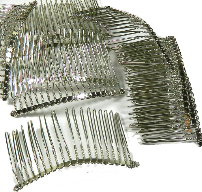 "48 Steel/nickel Tone Metal Hair Comb Beading Hair Clips 3-1/8""x1-1/2"""