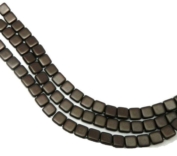 Dark Brown- 6mm Square Glass Czech Two Hole Tile Bead 25 Beads
