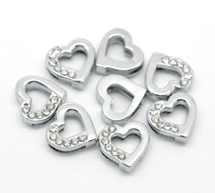 Heart Rhinestone Antiqued Silver Slide on Charm Beads 13mm 20