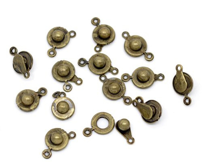 50 Antiqued Brass Plated Ball and Socket Jewelry Findings Clasps 18x10mm 50pc