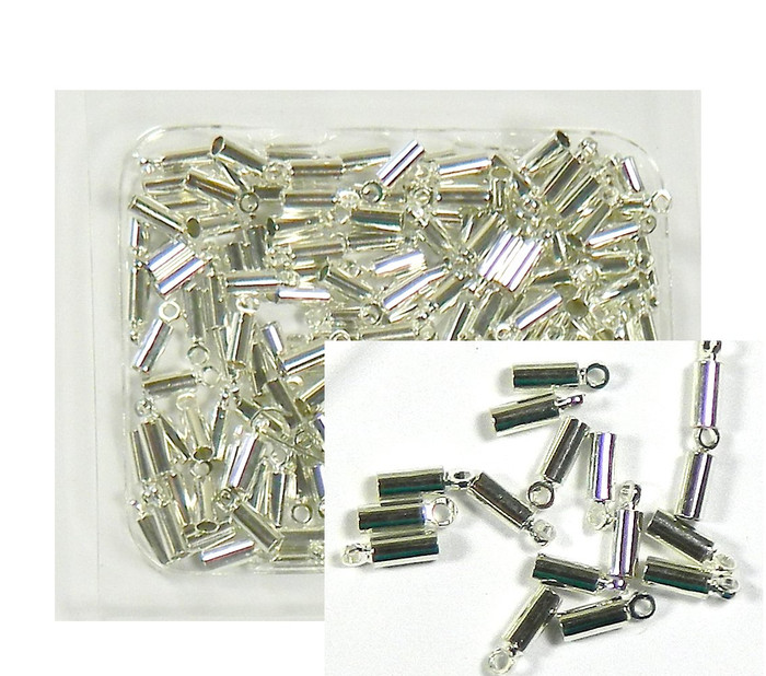 150 Cord Tip/ends Coil with Loop Silver Plated Copper, 8x2.5mm Fit 1 to 1.5mm Cord