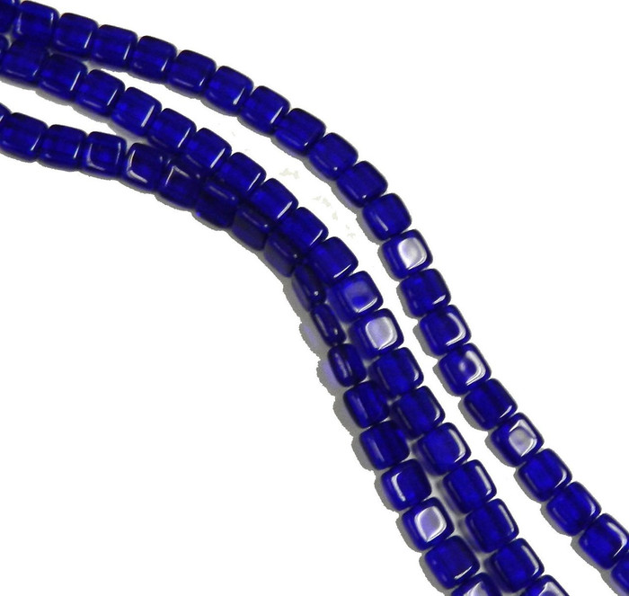 Cobalt 6mm Square Glass Czech Two Hole Tile Bead 25 Beads
