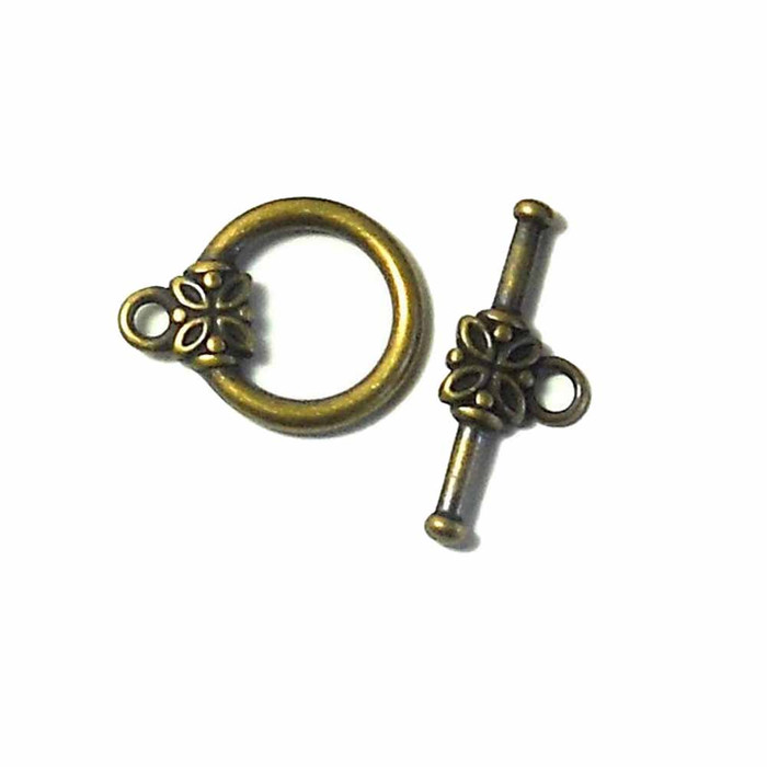 19 Antiqued Gold Plated Brass Jewelry Toggle Clasps 14mm Flower Findings