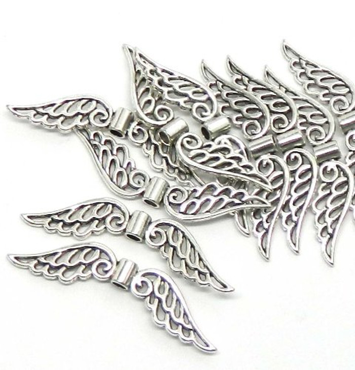 10 Focal Angel Wings Antiqued Silver Beads Cast Zinc Metal Beads 53x10mm