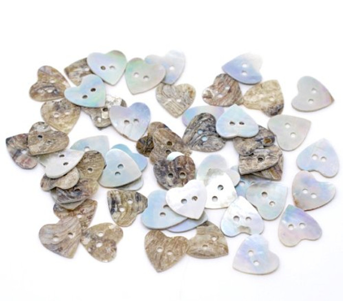 Mother of Pearl Hearts Buttons Scrapbooking 15mm, Sold Per Pack of 100