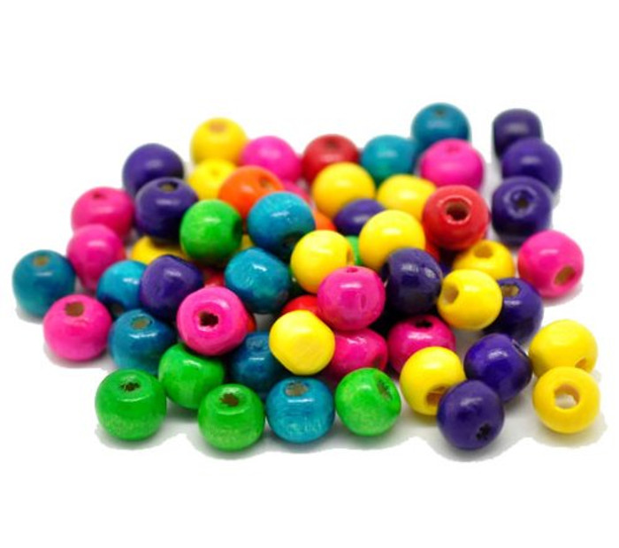 "Mixed Color Painted Wood Round Spacer Beads 8x6mm (3/8""x1/4""), Sold Per Pack of 1000"
