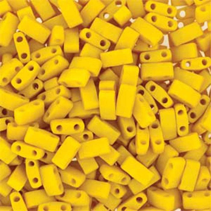 Dandalion Yellow Half Tila Beads 7.2 Gram Miuki Square 5mm 2 hole