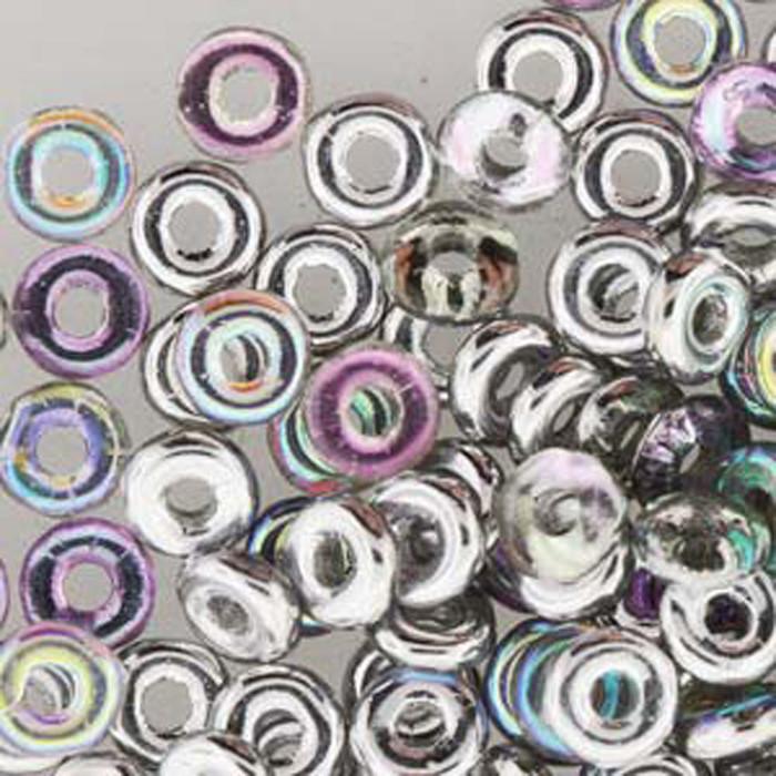Crystal Silver Rainbow O-beads 3.8x1mm Czech Glass Mini Flat Ring 8 gram