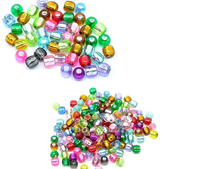 600 Mixed Multicolor Crafts Foil Pony Beads 7x7mm, sold per pack of 600