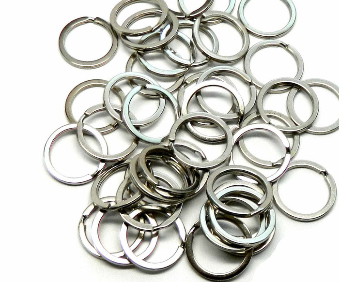 40 Nickel Plated Flat Sided 1 Inch Split Key Ring Steel Alloy