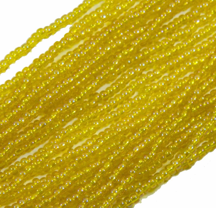 Yellow Trasparent Rainbow Ab Preciosa Czech Glass 6/0 Seed Bead on Loose Strung 6 String Hank