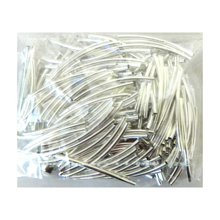 200 Curved Tube Beads 2x35mm Silver Plated Smooth Spacer Metal Bead 1mm Hole
