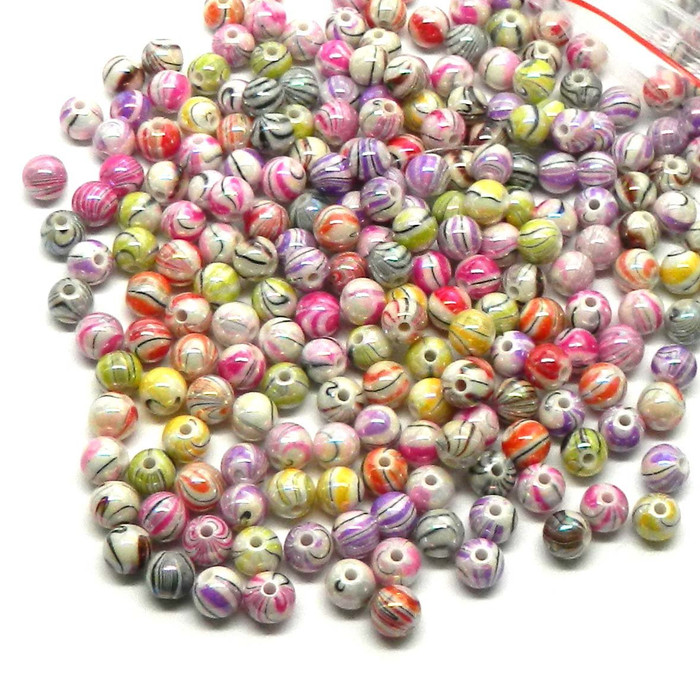 300 Mixed Acrylic Swirl and Strip Glazed Spacer Beads 8mm Round (1.4mm Hole)