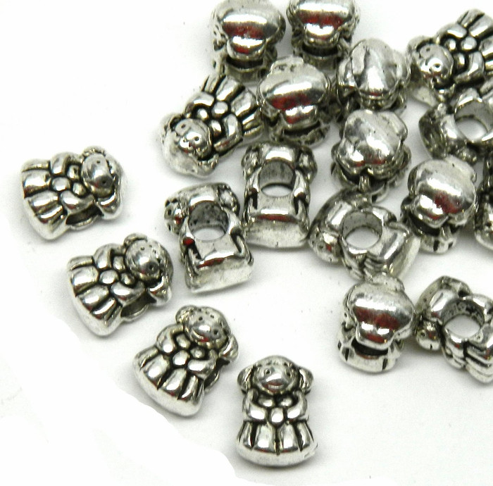 20 Little Girl Charm Beads 13x7mm with 4.5mm Hole