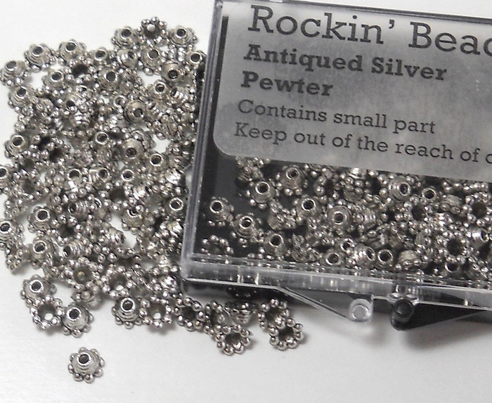 100 Bead Caps 5x3mm Round Dot for 6 to 8mm Beads Antiqued Silver Cast Pewter