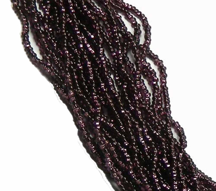 Dark Amethyst Purple Silver Lined Preciosa Czech Glass 6/0 Seed Bead on Loose Strung 6 String Hank