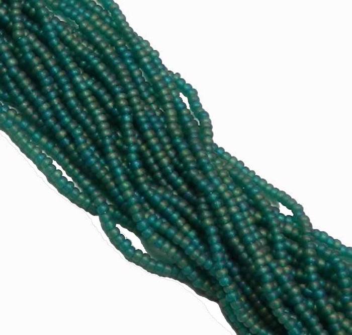 Emerald Matte Ab Preciosa Czech Glass 6/0 Seed Bead on Loose Strung 6 String Hank