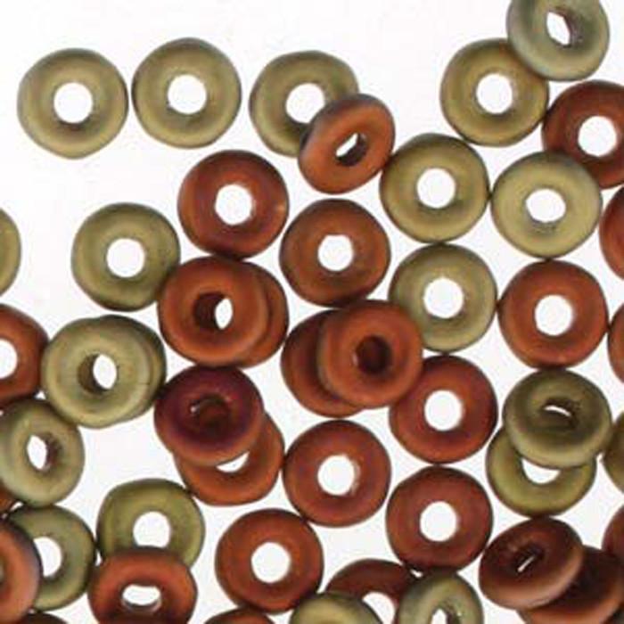 Jet California Gold Rush Matte O-beads 3.8x1mm Czech Glass Mini Flat Ring 8g