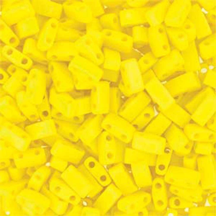 Opaque Matte Yellow Half Tila Beads 7.2 Gram Miuki Square 5mm 2 hole