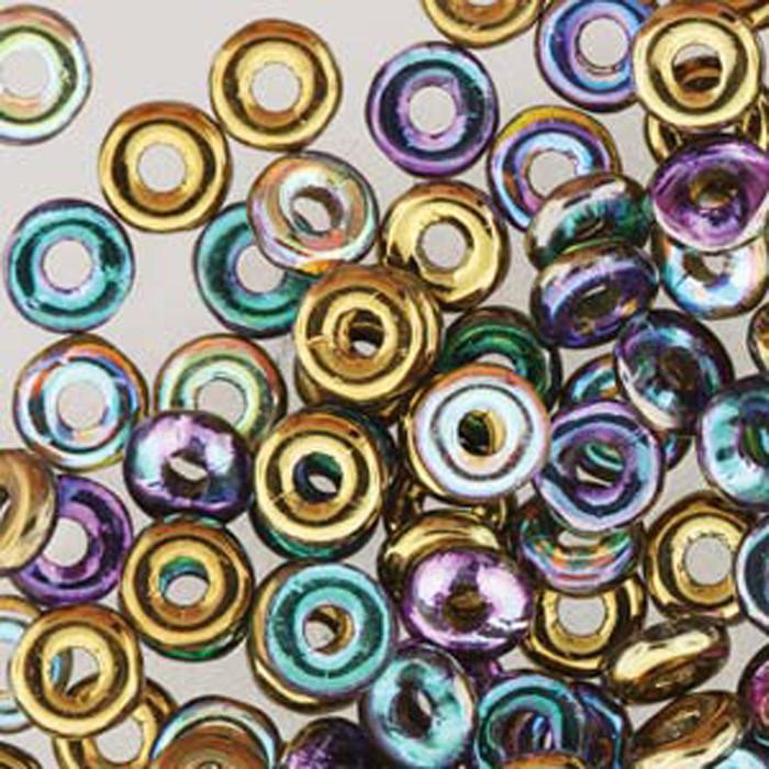 Crystal Gold Rainbow O-beads 3.8x1mm Czech Glass Mini Flat Ring 8 gram