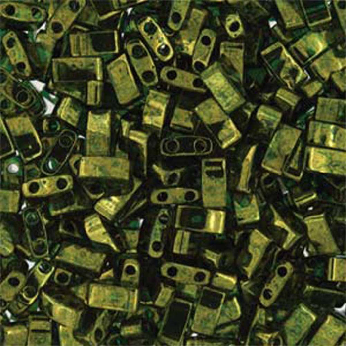Olive Green Gold Luster Half Tila Beads 7.2 Gram Miuki Square 5mm 2 hole