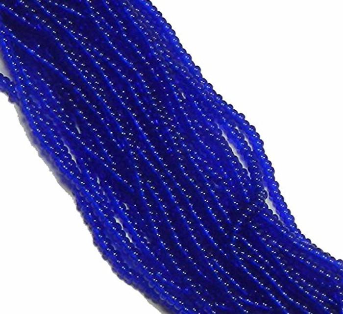 Dark Sapphire Transparent Czech 6/0 Seed Bead on Loose Strung 6 String Hank