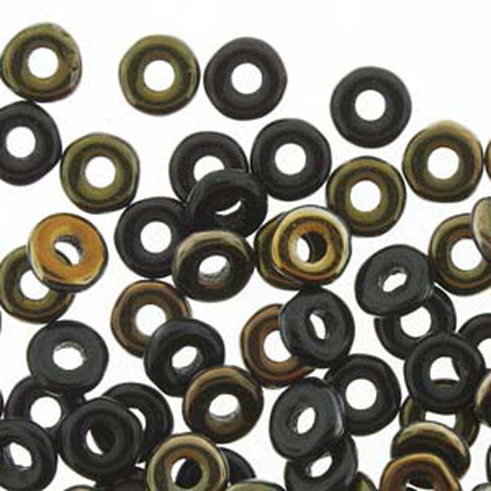 Jet Valentinite O-beads 3.8x1mm Czech Glass Mini Flat Ring 8 gram