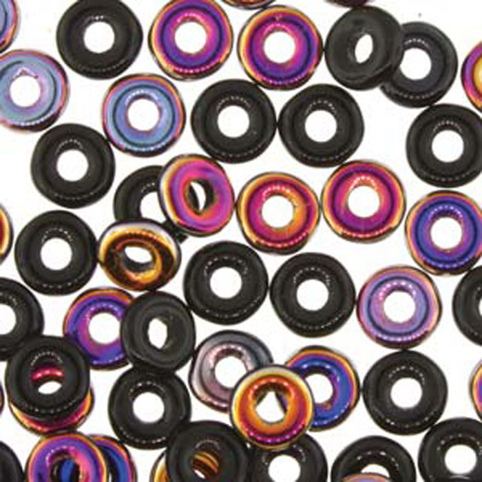 Jet Sliperit O-beads 3.8x1mm Czech Glass Mini Flat Ring 8 gram