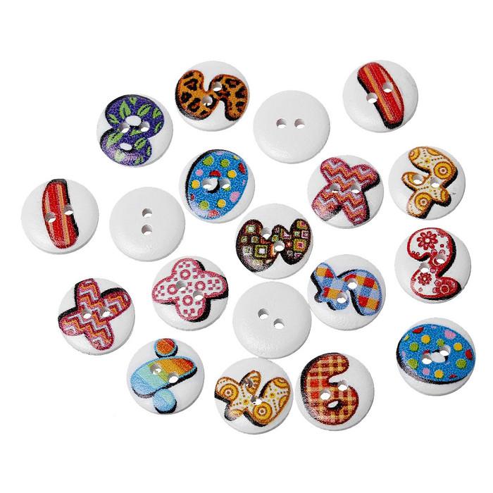 180 Wood Sewing Buttons Scrapbooking Numbers and Symbols Randum 2 Holes Mixed 15mm 3/5 Inch 2