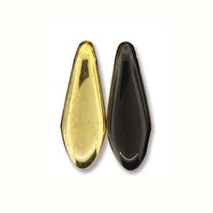 Jet Amber 25 Czech Glass Dagger Drop Beads 5x16mm