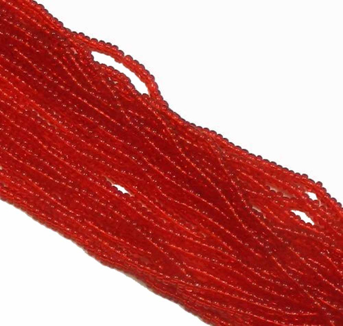 Light Ruby Red Transparent Preciosa Czech Glass 6/0 Seed Bead on Loose Strung 6 String Hank