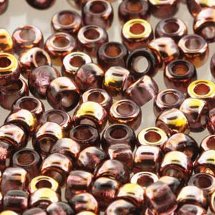 Matubo Czech Glass Seed Beads 8/0 3.1mm 50gr 1.3mm Hole Amethyst Gold Capri