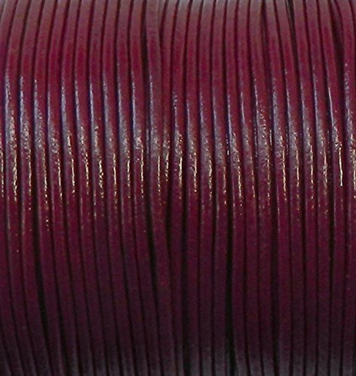 Imported India Leather Cord 2mm Round 5 Yards Burgandy