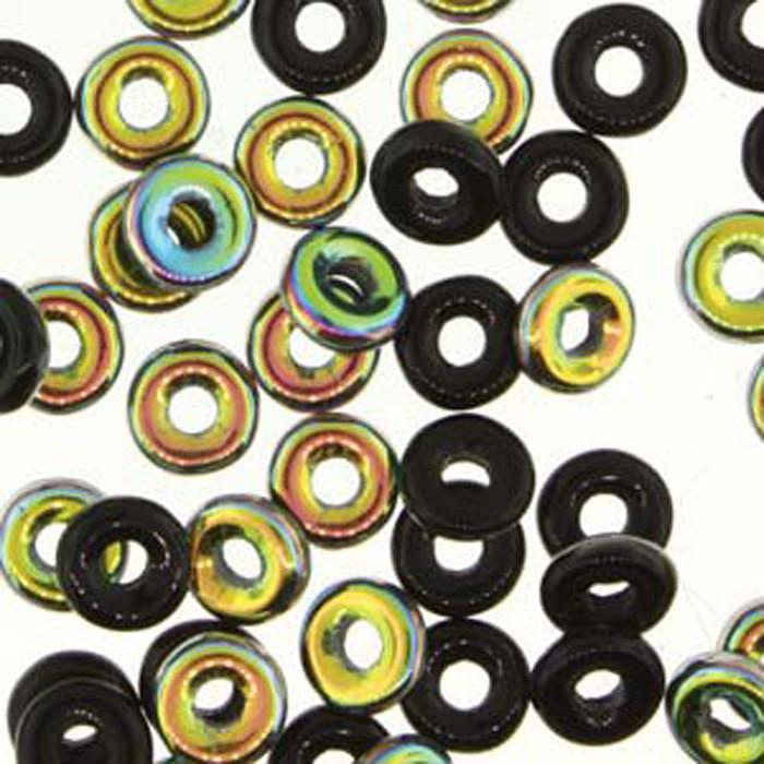 Jet Vitrail O-beads 3.8x1mm Czech Glass Mini Flat Ring 8 gram