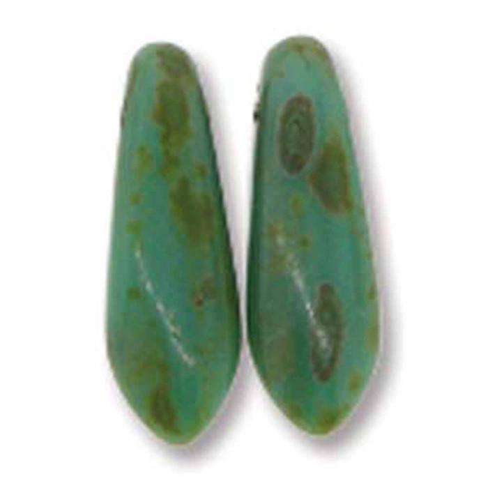 Jade Picasso 50 Czech Glass Dagger Drop Beads 3x11mm
