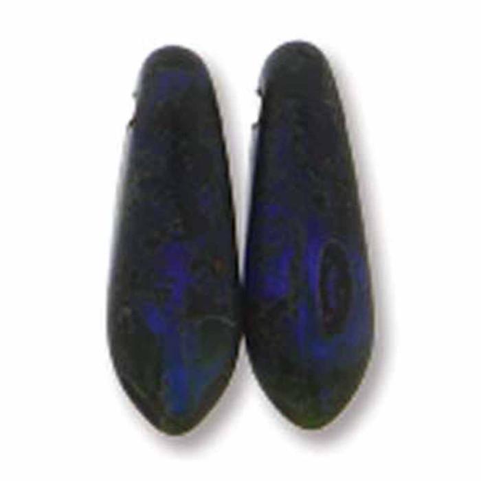 Dark Sapphire Matte Picasso 50 Czech Glass Dagger Drop Beads 3x11mm