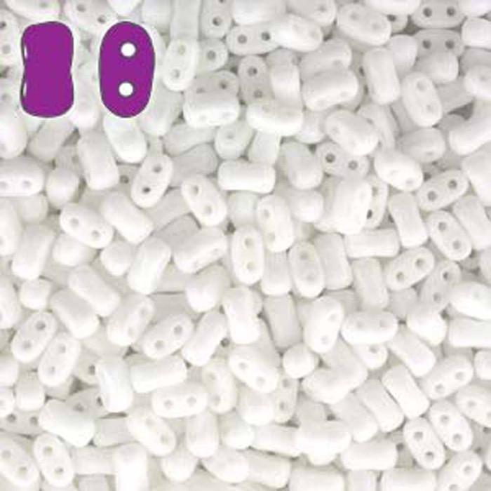 Chalk BI-BO Czech Glass 2 hole Seed Beads 5.5x2.8mm 22gr