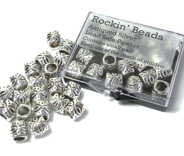 20 Tube Beads 9x9mm with 5mm Hole for Charm Bracelets Spacers Antique Sliver