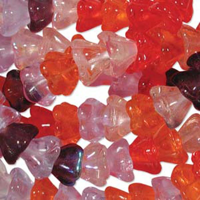 Melonberry Mix 10x13mm Flower Cone 45 Bead Cap Czech Glass Beads