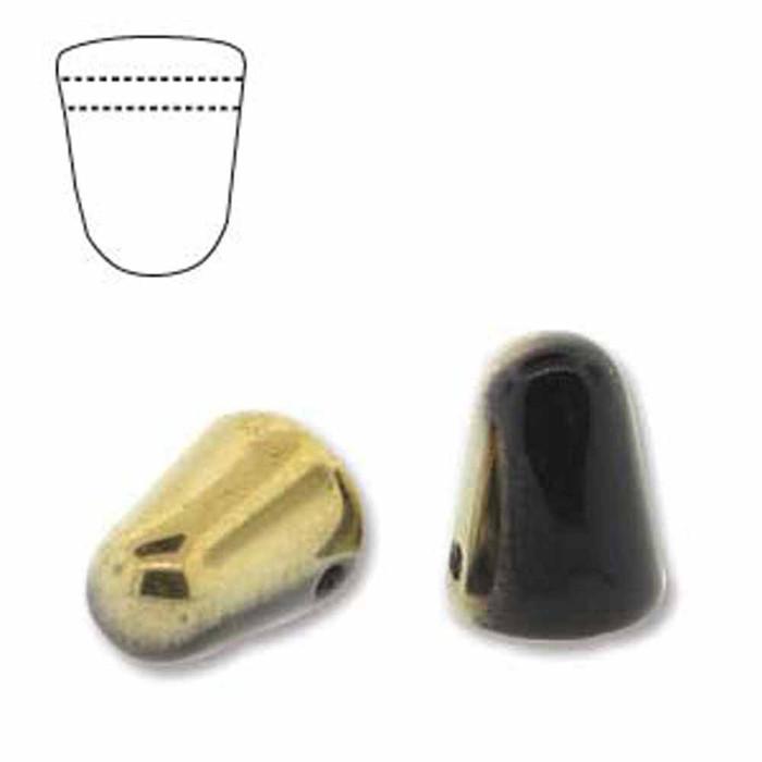 Jet Amber 20 Czech Glass Gumdrop Beads 7.5x10mm