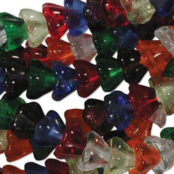 Rainbow Mix 10x13mm Flower Cone 45 Bead Cap Czech Glass Beads