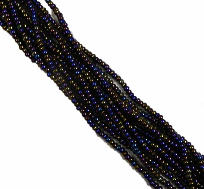 JET Black Ab Czech 6/0 Seed Bead on Loose Strung 6 String Hank